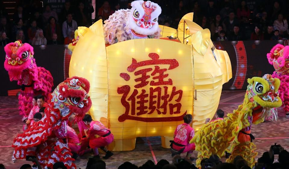 A lion dance performance during the International Chinese New Year Night Parade in 2019. Photo: Edmond So