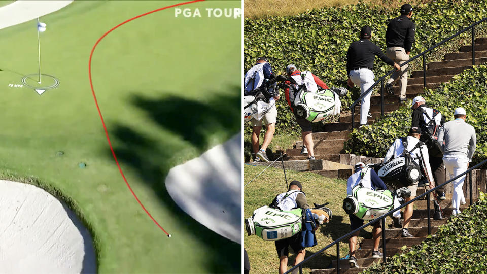 Keegan Bradley's putt, pictured here being blown off the green.