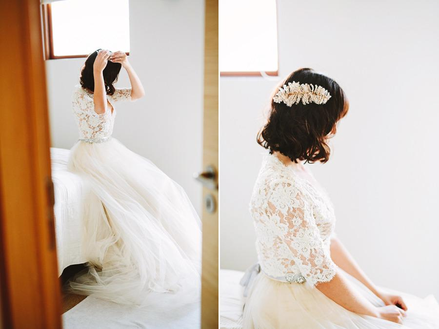 "<p>Rose wore a romantic lace and tulle wedding gown and veil by Portland-based designer <a href=""http://www.emilyriggsbridal.com/"">Emily Riggs</a>, and a fern-shaped comb headpiece. <i>Photo: Courtesy of <a href=""http://www.patfureyphoto.com/"">Pat Furey Photography</a></i></p>"