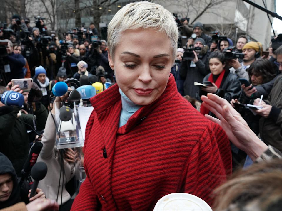 Actress Rose McGowan speaks during a press conference (AFP via Getty Images)