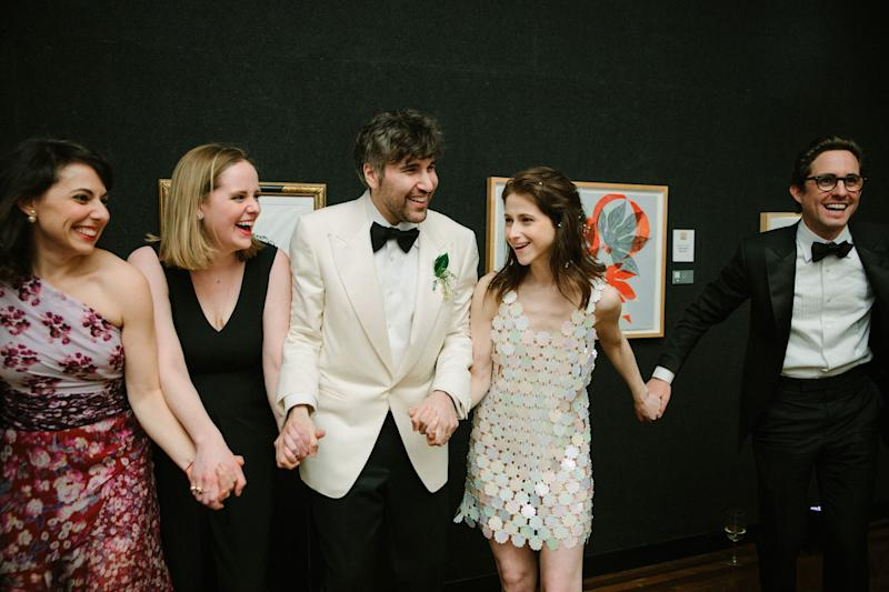 Dancing with our friends Annie Karni and Emily Cheesman and our officiant Steven Chaiken. Mike looks so festive in white!