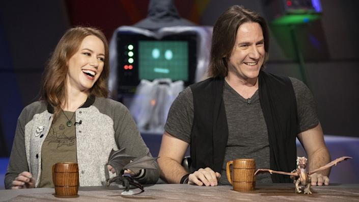 """Critical Role"" cast members Marisha Ray, left, and Matt Mercer are guests on Syfy's ""The Great Debate."" <span class=""copyright"">(Richie Knapp / Syfy)</span>"