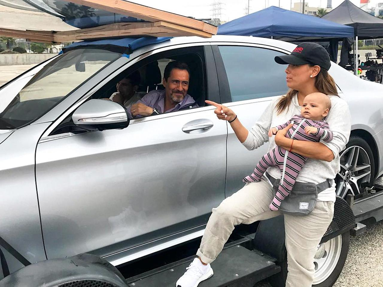 """<p>Santiago joined mom for some behind-the-scenes action on set of her show <em>Grand Hotel</em>, and even got to meet Demian Bichir, who plays the main character who shares his name! """"Santiago, meet Santiago,"""" Longoria <a href=""""https://www.instagram.com/p/Bned7YrgrGd/?taken-by=evalongoria"""">captioned the shot.</a></p>"""