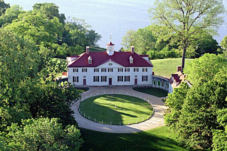 """<p>Mount Vernon began as a one-and-a-half story home built by George Washington's father, Augustine, in 1734. It went on to become the plantation of George and Martha Washington, the first President and First Lady of the United States of America. The architectural style of the home is described as loose Palladian, which is a European style inspired by Ancient Greek and Roman structures. Mount Vernon was expanded twice during George Washington's lifetime, in the late 1750s and in the 1770s, and it was his home until his death in 1799. In 1858, the Mount Vernon Ladies' Association acquired the historic home and saved it from ruin by restoring it. </p><p><a class=""""link rapid-noclick-resp"""" href=""""https://virtualtour.mountvernon.org/"""" rel=""""nofollow noopener"""" target=""""_blank"""" data-ylk=""""slk:TOUR NOW"""">TOUR NOW</a></p>"""