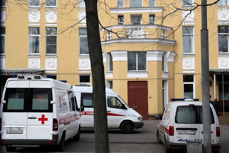 MOSCOW, RUSSIA - MARCH 19, 2020: Ambulance vehicles at Infectious Diseases Hospital 2 where a 79-year-old woman with underlying health issues infected with the novel coronavirus has died from pneumonia. Alexander Shcherbak/TASS (Photo by Alexander Shcherbak\TASS via Getty Images)