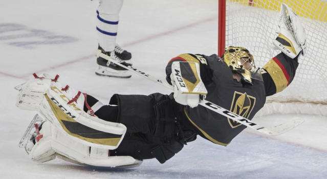 Marc-Andre Fleury of the Vegas Golden Knights may have made the save of the year late in the third period against the Toronto Maple Leafs on Tuesday night. (Twitter//@benjaminhphoto via @HockeyinVegas)