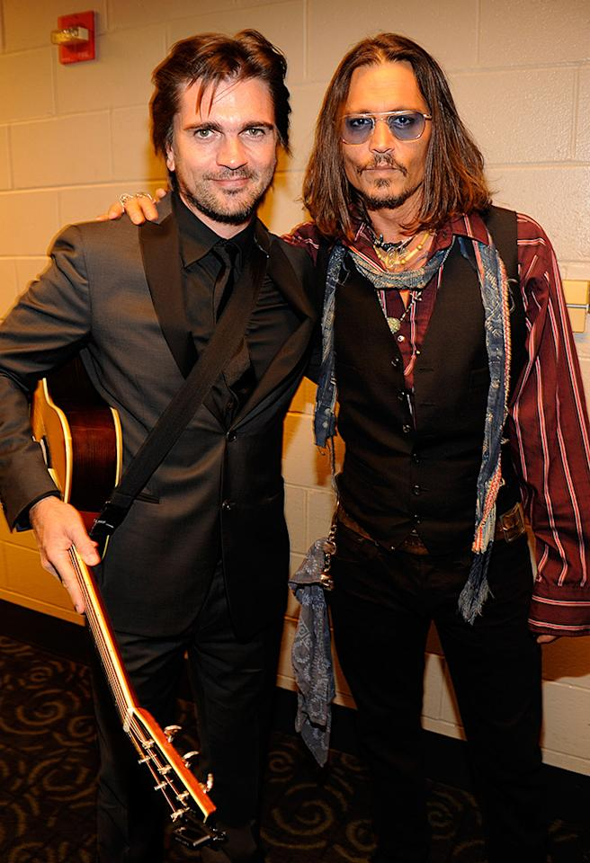 LOS ANGELES, CA - FEBRUARY 10:  Juanes and Johnny Depp attend the 55th Annual GRAMMY Awards at STAPLES Center on February 10, 2013 in Los Angeles, California.  (Photo by Kevin Mazur/WireImage)