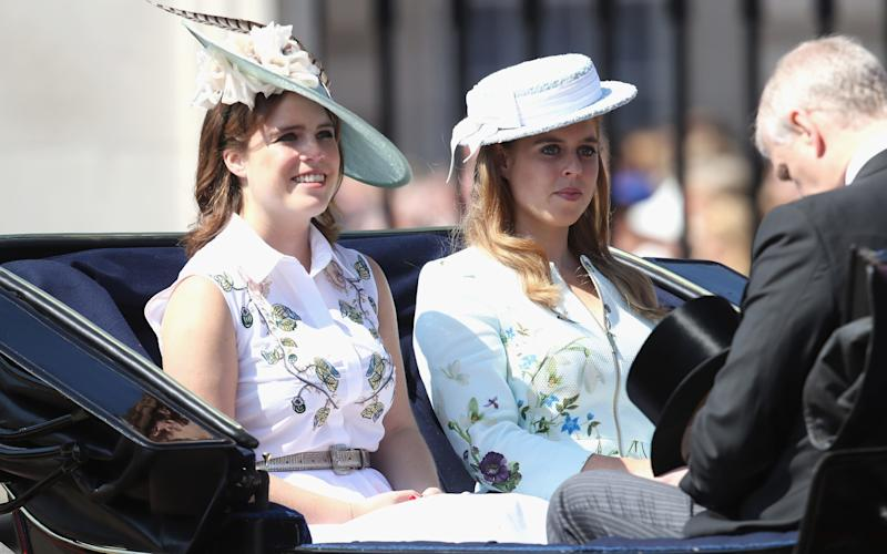 rincess Eugenie of York, Princess Beatrice of York and Prince Andrew, Duke of York - Credit: Getty