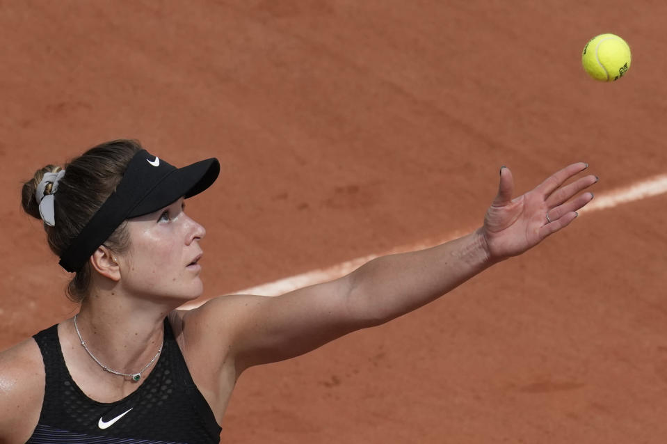 Ukraine's Elina Svitolina serves to United States Ann Li during their second round match on day 5, of the French Open tennis tournament at Roland Garros in Paris, France, Thursday, June 3, 2021. (AP Photo/Christophe Ena)