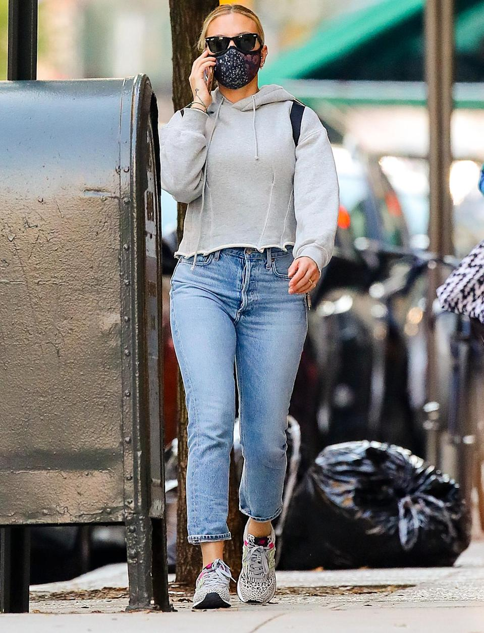 <p>Scarlett Johansson is seen out for a walk on Wednesday in N.Y.C. with her new wedding ring on.</p>