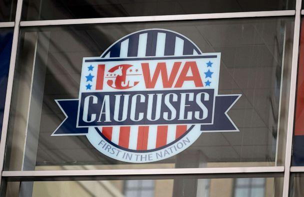 PHOTO: Signage for the Iowa Caucuses hang in downtown Des Moines, Iowa, Jan. 25, 2020. (AFP via Getty Images, FILE)