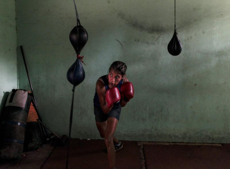 Balmaceda attends a boxing class at the National Institute of Sport in Managua