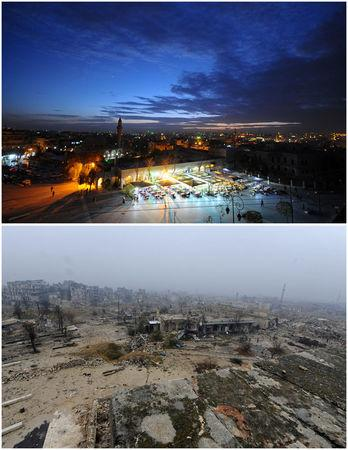 A combination picture shows the Old City of Aleppo, Syria on November 24, 2008 (top) and after it was damaged December 13, 2016. REUTERS/Omar Sanadiki