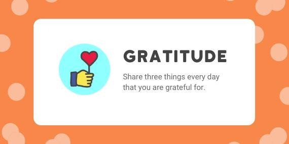 Gratitude - Share three things every day that you are grateful for - cartoon of hand holding a heart shaped balloon