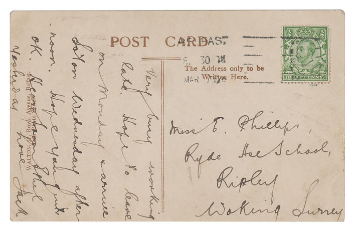 A photo copy of a postcard, provided by RR Auction, with a message written in March 1912 by the Titanic's senior wireless operator Jack Phillips, is shown with a postage stamp attached. The reverse side is dated May 31, 1911, and shows a photograph of the Titanic, in Belfast, Northern Ireland. The handwritten postcard was to Phillips' sister, Elsie Phillips. The postcard is to be auctioned by RR Auction. (RR Auction via AP)