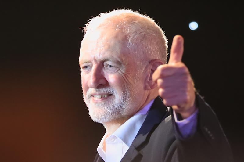 Labour Party leader Jeremy Corbyn acknowledges supporters after he delivered a speech at the Grand Central Hall in Liverpool, after the Letwin amendment, which seeks to avoid a no-deal Brexit on October 31, was accepted by the House, following Prime Minister Boris Johnson's statement in the House of Commons over his new Brexit deal.