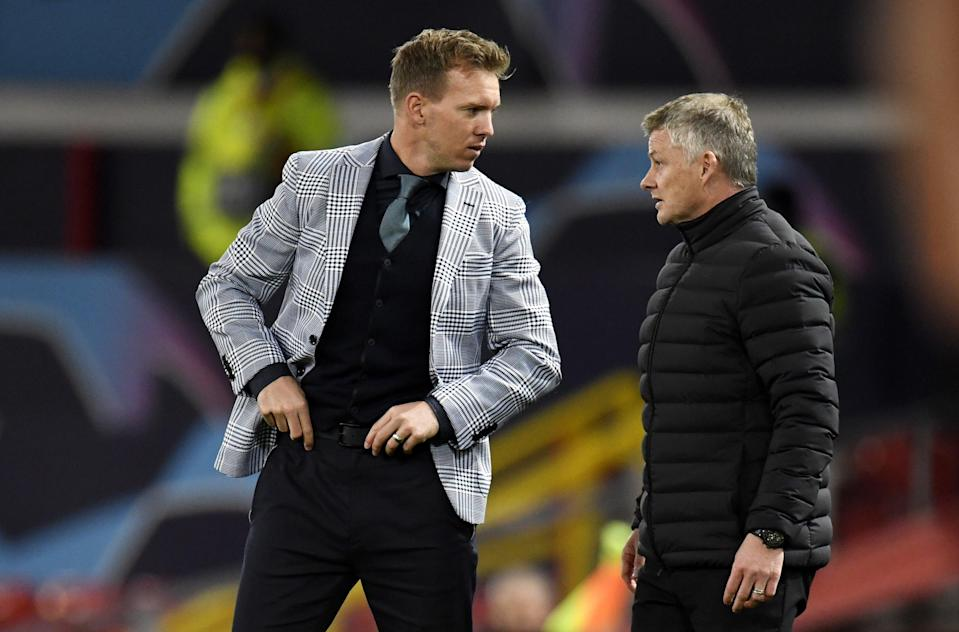 Julian Nagelsmann hit out at critics discussing his choice of attire during Leipzig's defeat by Manchester United (EPA)