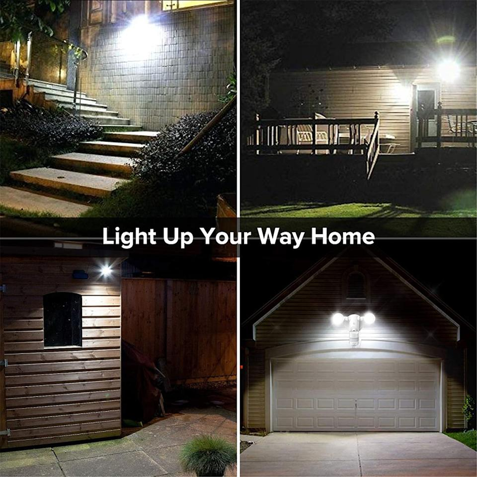 SANSI LED Security Lights can be used to light outside garages, sheds, porches and more. Image via Amazon.