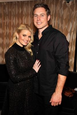 Jessica Simpson and boyfriend Eric Johnson are spotted hugging backstage at the 2010 Rockefeller Center tree lighting at Rockefeller Center in New York City, November 30, 2010  -- Getty Premium