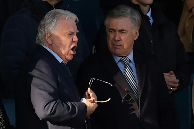 New Everton manager Carlo Ancelotti (right) watched the Toffees 0-0 draw with Arsenal (AFP Photo/Paul ELLIS)