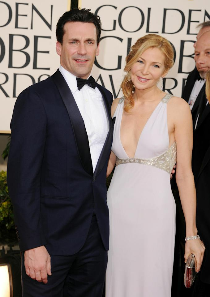 BEVERLY HILLS, CA - JANUARY 16:  Actor Jon Hamm (L) and actress Jennifer Westfeldt arrive at the 68th Annual Golden Globe Awards held at The Beverly Hilton hotel on January 16, 2011 in Beverly Hills, California.  (Photo by Jason Merritt/Getty Images)