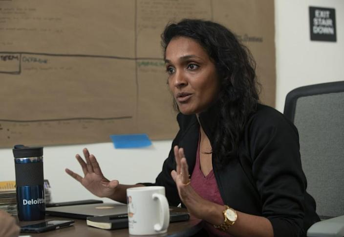 LOS ANGELES, CA-JANUARY 10, 2020: Los Angeles City Council candidate Nithya Raman, one of the challengers seeking to unseat Los Angeles City Councilman David Ryu, is photographed inside her campaign headquarters on 3rd St. in Los Angeles. (Mel Melcon/Los Angeles Times)
