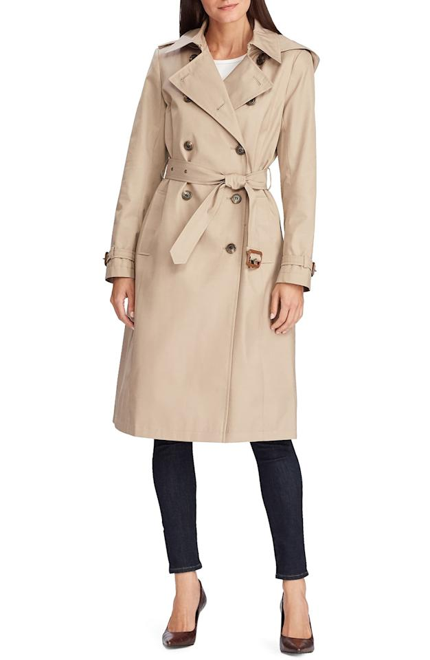 "<p>It doesn't get more classic than this <a href=""https://www.popsugar.com/buy/Lauren-Ralph-Lauren-Double-Breasted-Trench-Coat-508553?p_name=Lauren%20Ralph%20Lauren%20Double%20Breasted%20Trench%20Coat&retailer=shop.nordstrom.com&pid=508553&price=230&evar1=fab%3Aus&evar9=45175105&evar98=https%3A%2F%2Fwww.popsugar.com%2Ffashion%2Fphoto-gallery%2F45175105%2Fimage%2F46824691%2FLauren-Ralph-Lauren-Double-Breasted-Trench-Coat&list1=shopping%2Cnordstrom%2Cfall%20fashion%2Ctrends%2Ccoats%2Cfall%2Ctrench%20coats&prop13=mobile&pdata=1"" rel=""nofollow"" data-shoppable-link=""1"" target=""_blank"" class=""ga-track"" data-ga-category=""Related"" data-ga-label=""https://shop.nordstrom.com/s/lauren-ralph-lauren-double-breasted-trench-coat/5384197?origin=keywordsearch-personalizedsort&amp;breadcrumb=Home%2FAll%20Results&amp;color=sand"" data-ga-action=""In-Line Links"">Lauren Ralph Lauren Double Breasted Trench Coat</a> ($230).</p>"
