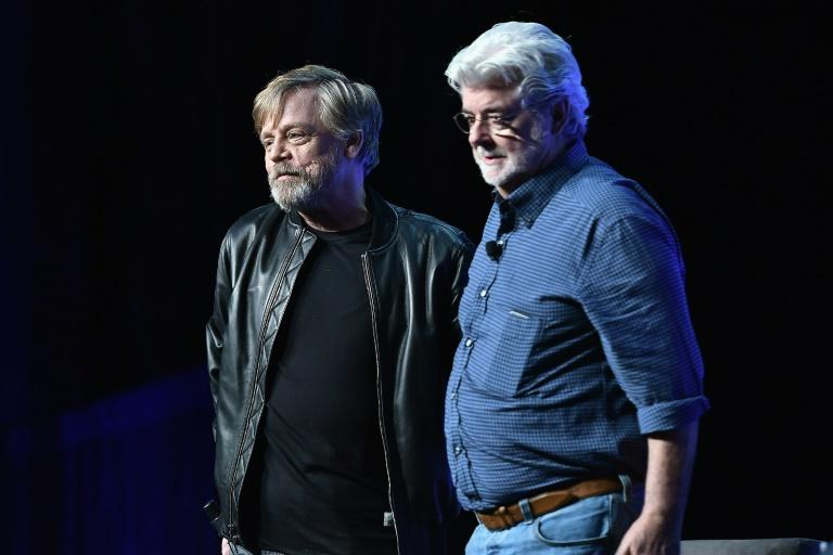 "Mark Hamill and George Lucas attend the first day of the Star Wars Celebration in Orlando, Florida, where the first trailer for ""Star Wars: The Last Jedi"" was premiered on day two"