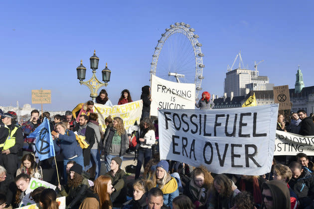 Protestors occupy Westminster Bridge on Saturday as part of an anti-climate change demo.