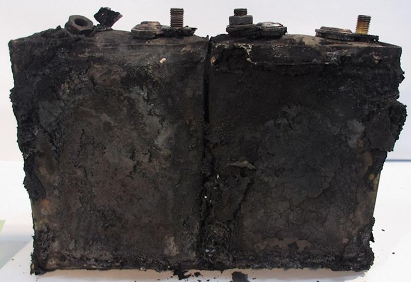 "This Jan. 31, 2013 photo provided by the Japan Transport Safety Board shows two of eight damaged cells in the battery, that overheated on the All Nippon Airways Boeing 787 on Jan. 16 and prompted an emergency landing, during an investigation by U.S. and Japanese aviation safety regulators at its manufacturer GS Yuasa's headquarters in Kyoto, Japan. An investigation into the battery found evidence of the same type of ""thermal runaway"" seen in a similar incident in Boston, officials said Tuesday, Feb. 5, 2013. (AP Photo/Japan Transport Safety Board) EDITORIAL USE ONLY, NO SALES"