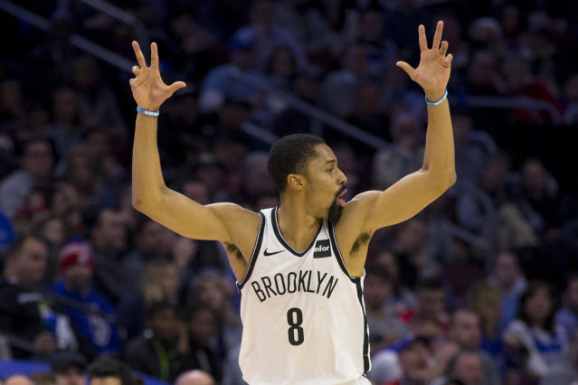 PHILADELPHIA, PA - DECEMBER 12: Spencer Dinwiddie #8 of the Brooklyn Nets reacts after making a three point basket against the Philadelphia 76ers at the Wells Fargo Center on December 12, 2018 in Philadelphia, Pennsylvania. (Photo by Mitchell Leff/Getty Images)