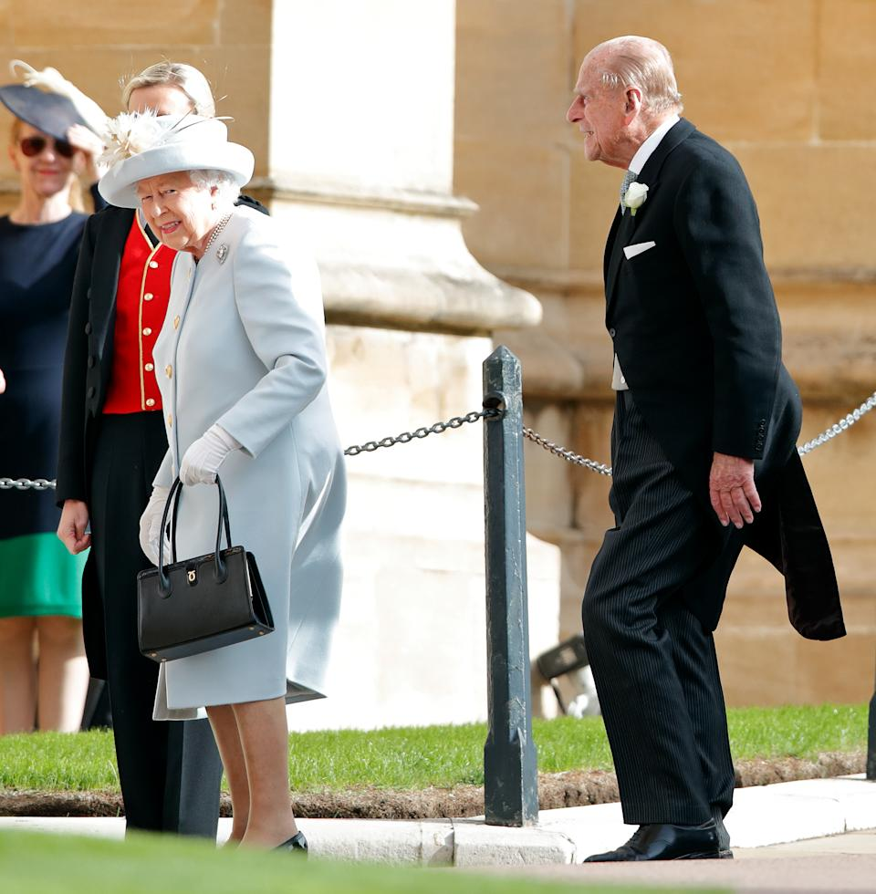 Queen Elizabeth II and Prince Philip, Duke of Edinburgh attend the wedding of Princess Eugenie of York and Jack Brooksbank at St George's Chapel on October 12, 2018 in Windsor, England.