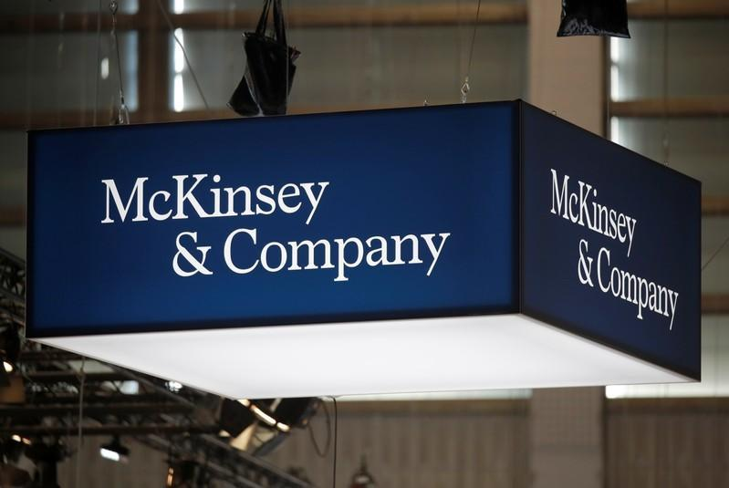 Logo of McKinsey and Company is seen at VivaTech fair in Paris