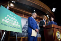 From left, Senate Majority Leader Chuck Schumer, D-N.Y., Sen. Cory Booker, D-N.J., and Sen. Ron Wyden, D-Ore., announce a draft bill that would decriminalize marijuana on a federal level Capitol Hill in Washington, on Wednesday, July 14, 2021. The bill, called the Cannabis Administration and Opportunity Act, would not only decriminalize marijuana, but also expunge the records of those with non-violent convictions related to cannabis and invest money into restorative justice programs. (AP Photo/Amanda Andrade-Rhoades)