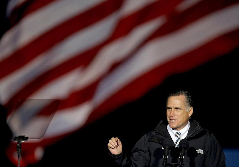 Republican presidential candidate, former Massachusetts Gov. Mitt Romney speaks during a campaign event at Shady Brook Farm, Sunday, Nov. 4, 2012, in Morrisville, Pa. (AP Photo/David Goldman)