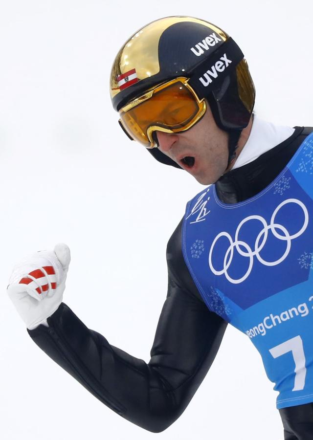 Nordic Combined Events - Pyeongchang 2018 Winter Olympics - Men's Team Gundersen LH Competition - Alpensia Ski Jumping Centre - Pyeongchang, South Korea - February 22, 2018 - Wilhelm Denifl of Austria reacts. REUTERS/Kai Pfaffenbach