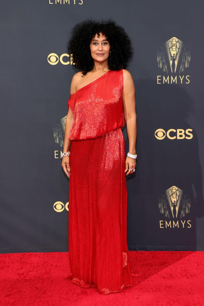 Ross looked chic in a red sequinned gown by Valentino Haute Couture paired with diamond bangles. (Image via Getty Images)