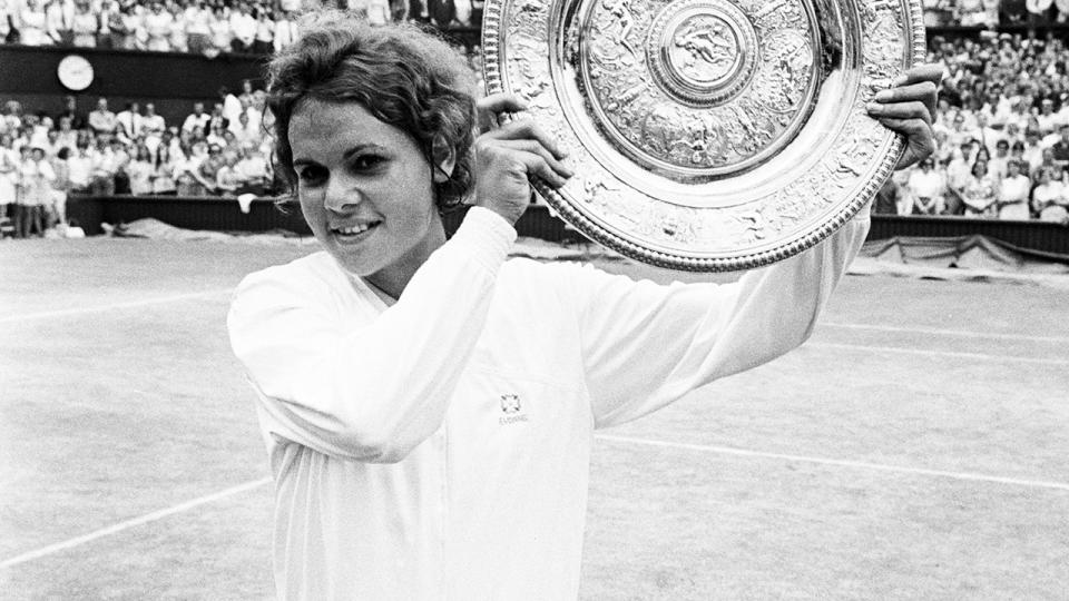 Evonne Goolagong, pictured here after winning the Wimbledon title in 1971.