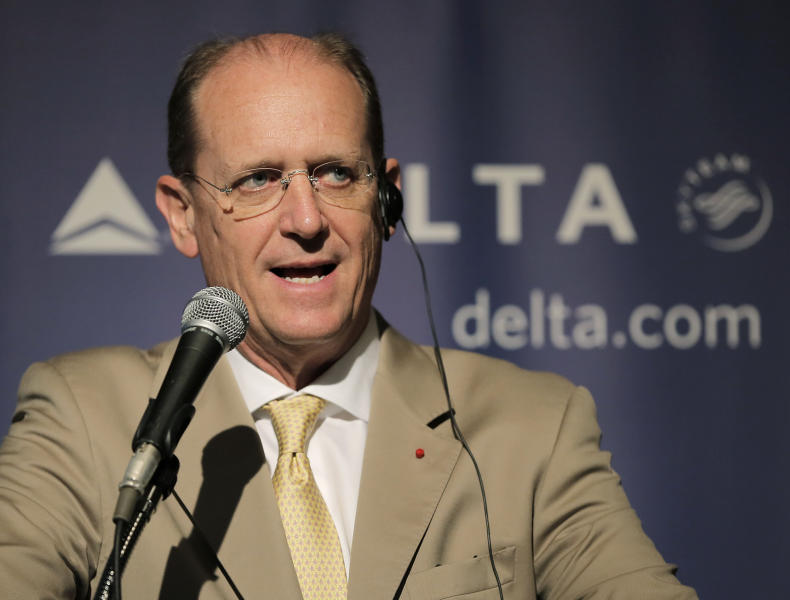 Delta Air Lines CEO Richard Anderson speaks during a press conference in Tokyo, Tuesday, July 30, 2013. Anderson is urging the Japanese government to open the skies to greater competition from foreign airlines. (AP Photo/Itsuo Inouye)