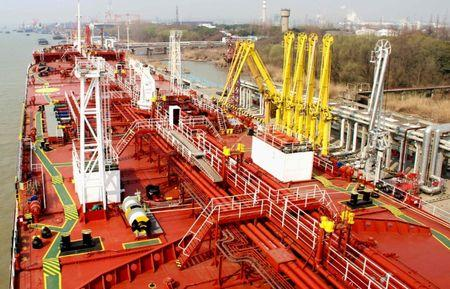 An oil tanker is pictured at a port in Yangzhou