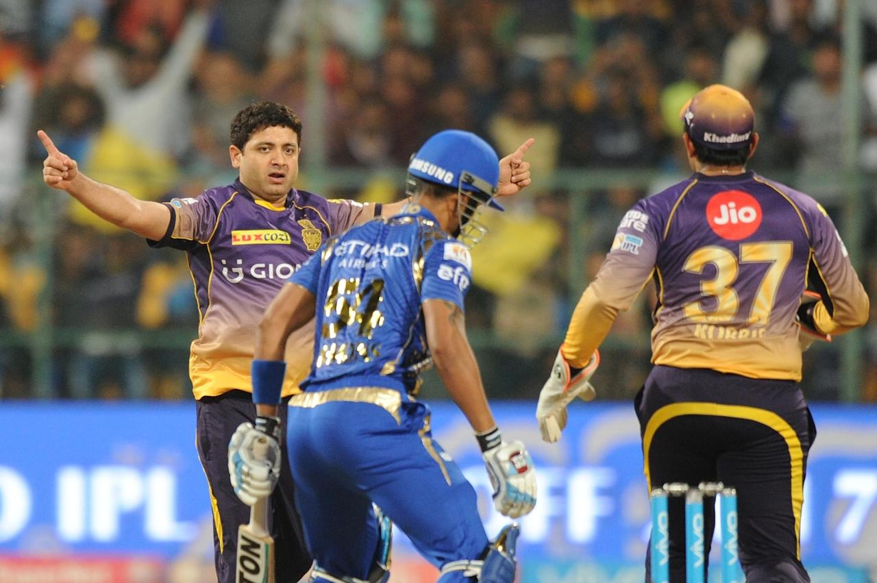 <p>Bengaluru: Piyush Chawla of Kolkata Knight Riders celebrates fall of Lendl Simmons during Qualifier 2 of IPL 2017 between Mumbai Indians and Kolkata Knight Riders at M Chinnaswamy Stadium in Bengaluru on May 19, 2017. (Photo: Dhananjay TK/IANS) </p>