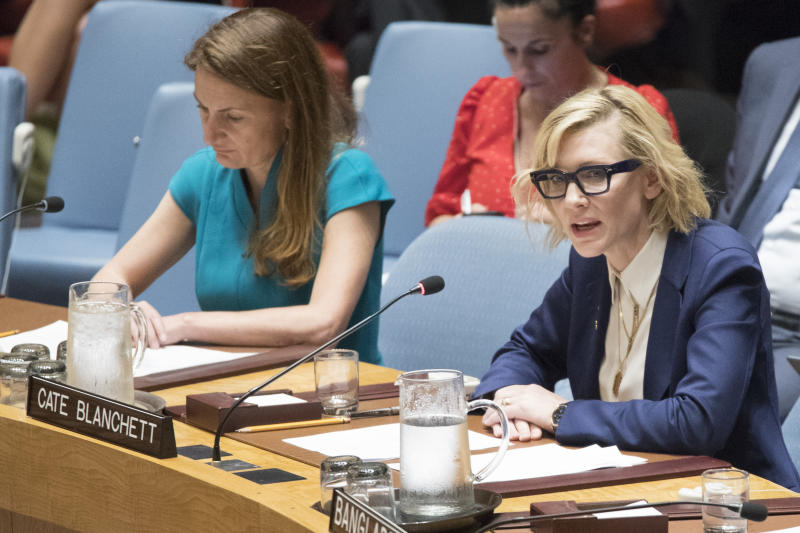 United Nations High Commissioner for Refugees Goodwill Ambassador Cate Blanchett during a Security Council meeting on the situation in the Myanmar, Tuesday, Aug. 28, 2018 at United Nations headquarters. (AP Photo/Mary Altaffer)