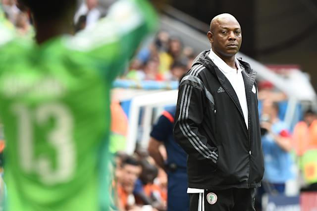 Nigeria's coach Stephen Keshi is pictured during a World Cup round of 16 match between France and Nigeria at Mane Garrincha National Stadium in Brasilia on June 30, 2014 (AFP Photo/Jewel Samad)