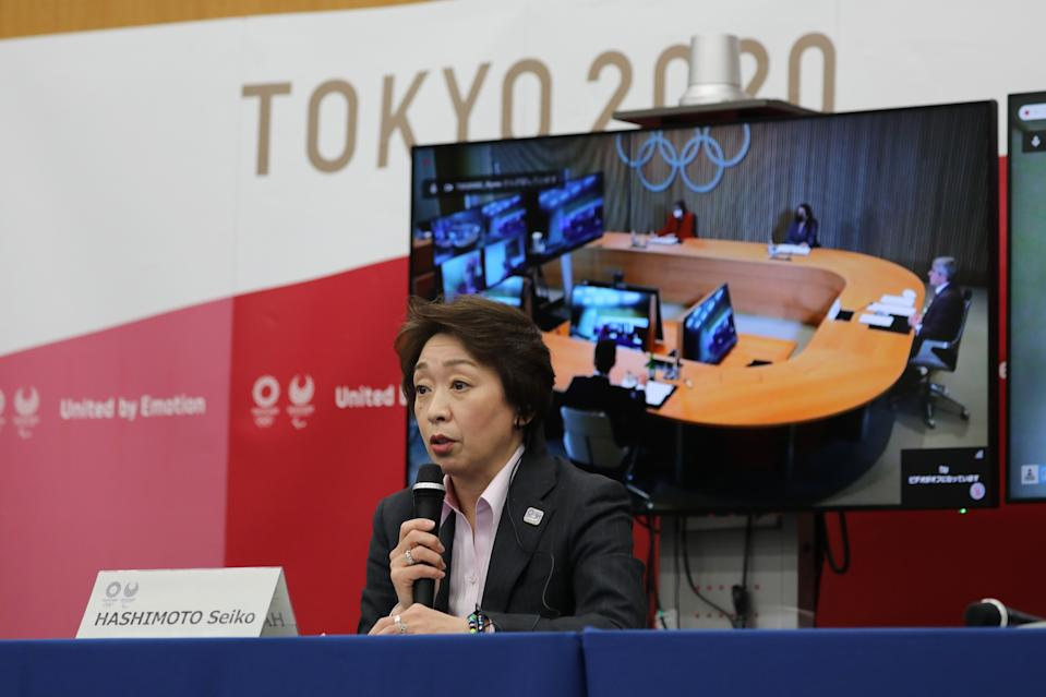 Seiko Hashimoto, president of Tokyo 2020, speaks during a five-party meeting at the Tokyo 2020 headquarters in Tokyo on March 3, 2021. (Photo by Du Xiaoyi / POOL / AFP) (Photo by DU XIAOYI/POOL/AFP via Getty Images)