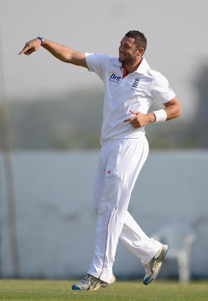 AHMEDABAD, INDIA - NOVEMBER 09:  Tim Bresnan of England celebrates dismissing Abhimanyu Khod of Haryana during day two of the tour match between England and Haryana at Sardar Patel Stadium ground B on November 9, 2012 in Ahmedabad, India.  (Photo by Gareth Copley/Getty Images)