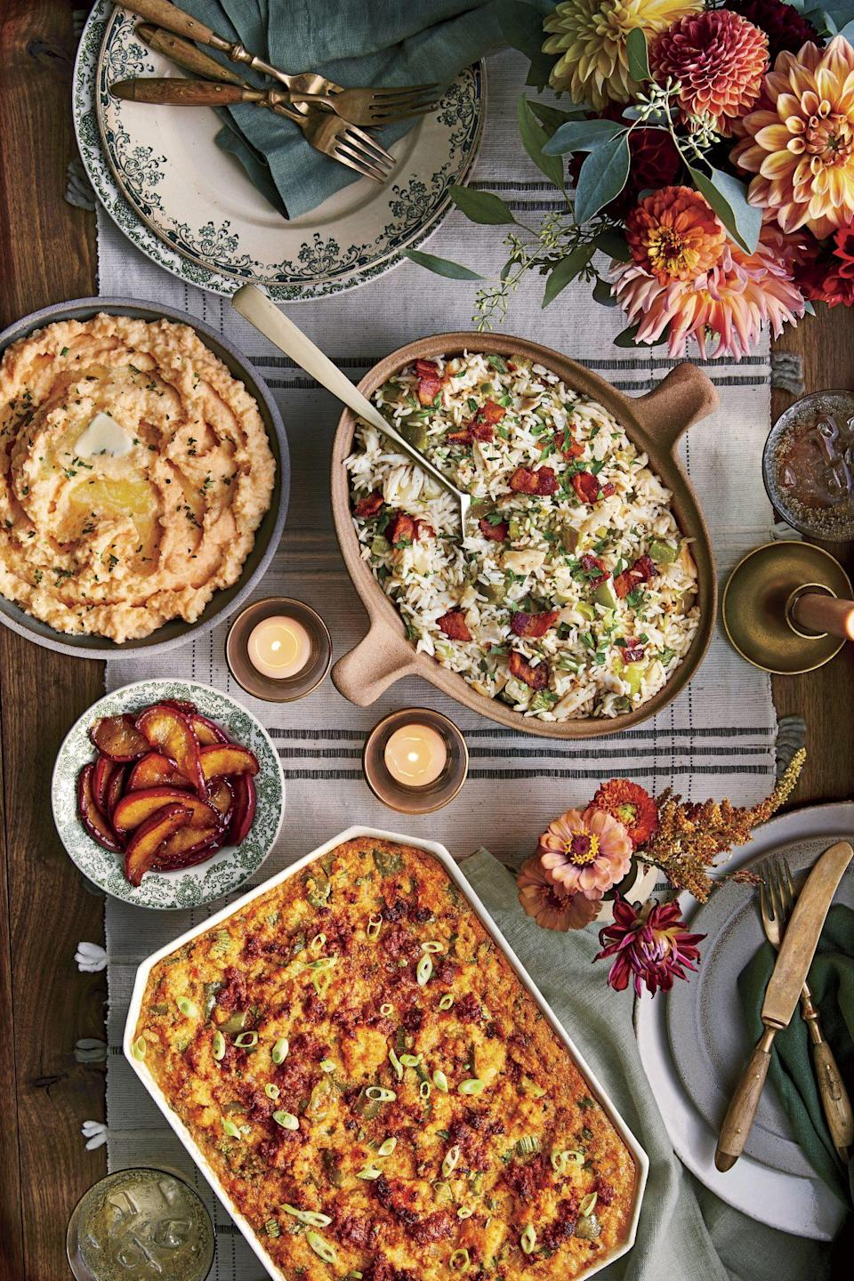 """<p><strong>Recipe: <a href=""""https://www.southernliving.com/recipes/spicy-cornbread-dressing-with-chorizo"""" rel=""""nofollow noopener"""" target=""""_blank"""" data-ylk=""""slk:Spicy Cornbread Dressing with Chorizo"""" class=""""link rapid-noclick-resp"""">Spicy Cornbread Dressing with Chorizo</a></strong></p> <p>Spice up the seasonal menu with this sassy take on classic cornbread dressing that is flavored with jalapenos, chorizo, and cilantro.</p>"""