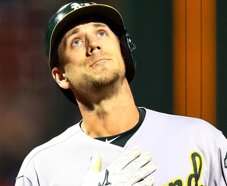 Stephen Piscotty hit one of the most emotional homers of 2018 on Tuesday. (AP Photo)