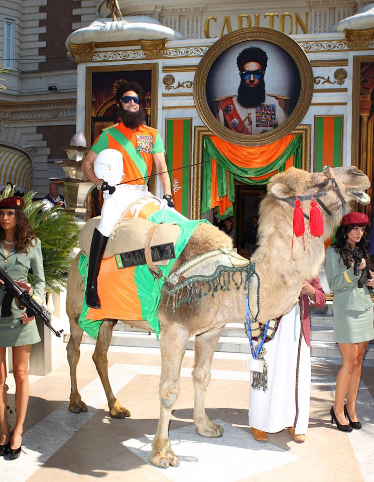 Sacha Baron Cohen dressed as Admiral General Aladeen is seen at the 'The Dictator' Cannes Sighting during the 65th Annual Cannes Film Festival on May 16, 2012 in Cannes, France.