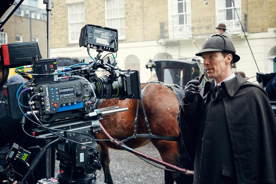 <p>Cumberbatch on the set of <i>The Abominable Bride</i>.</p>