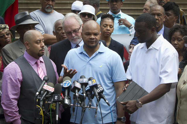 "Wrongly convicted members of the ""Central Park Five"" (from left, Raymond Santana, Kevin Richardson and Yusef Salaam) attend a news conference at City Hall in New York, June 27, 2014. (Photo: Carlo Allegri/Reuters)"